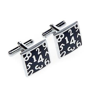 Marcell Sanders cuff links square men's digits numbers black silver