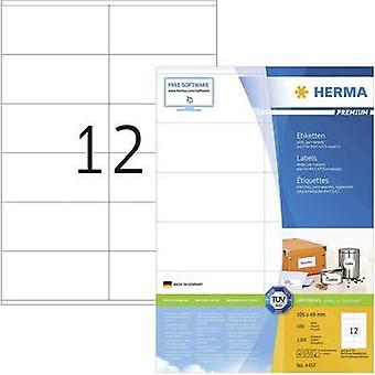 Herma 4457 Labels (A4) 105 x 48 mm Paper White 1200 pc(s) Permanent All-purpose labels, Franking labels Inkjet, Laser, C