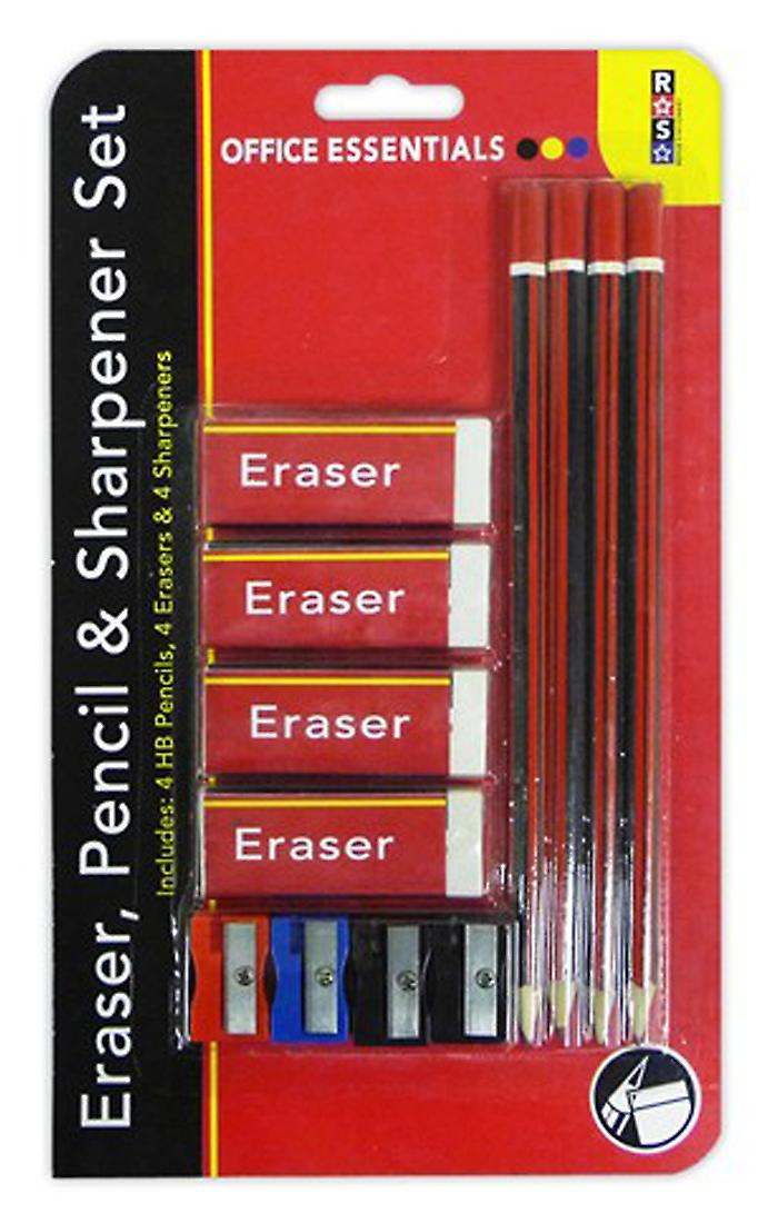 Stationery Set including 4 Pencils, 4 Erasers & 4 Sharpeners Perfect for School