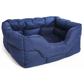 Country Dog Heavy Duty Waterproof Rectangle Drop Front Softee Bed Blue 88x72x35cm