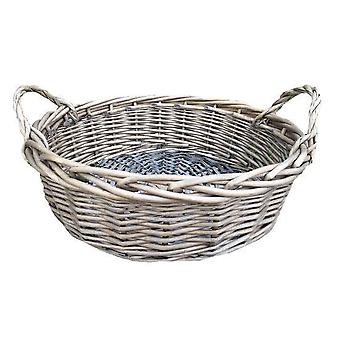 Large Round Antique Wash Display Wicker Tray