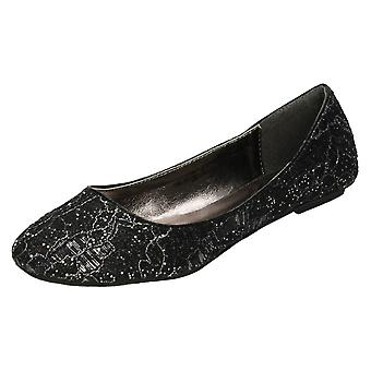 Ladies Spot On Flat Glitter and Lace Ballerina