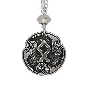 Handmade Norse Viking Odal Rune of Heritage 24th Runic Letter Pewter Pendant ~ 36 inch Black Cord