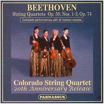 Colorado kvartetten - Beethoven: Strygekvartetter, Op. 59, nr. 1-3 & Op. 74 [CD] USA importerer