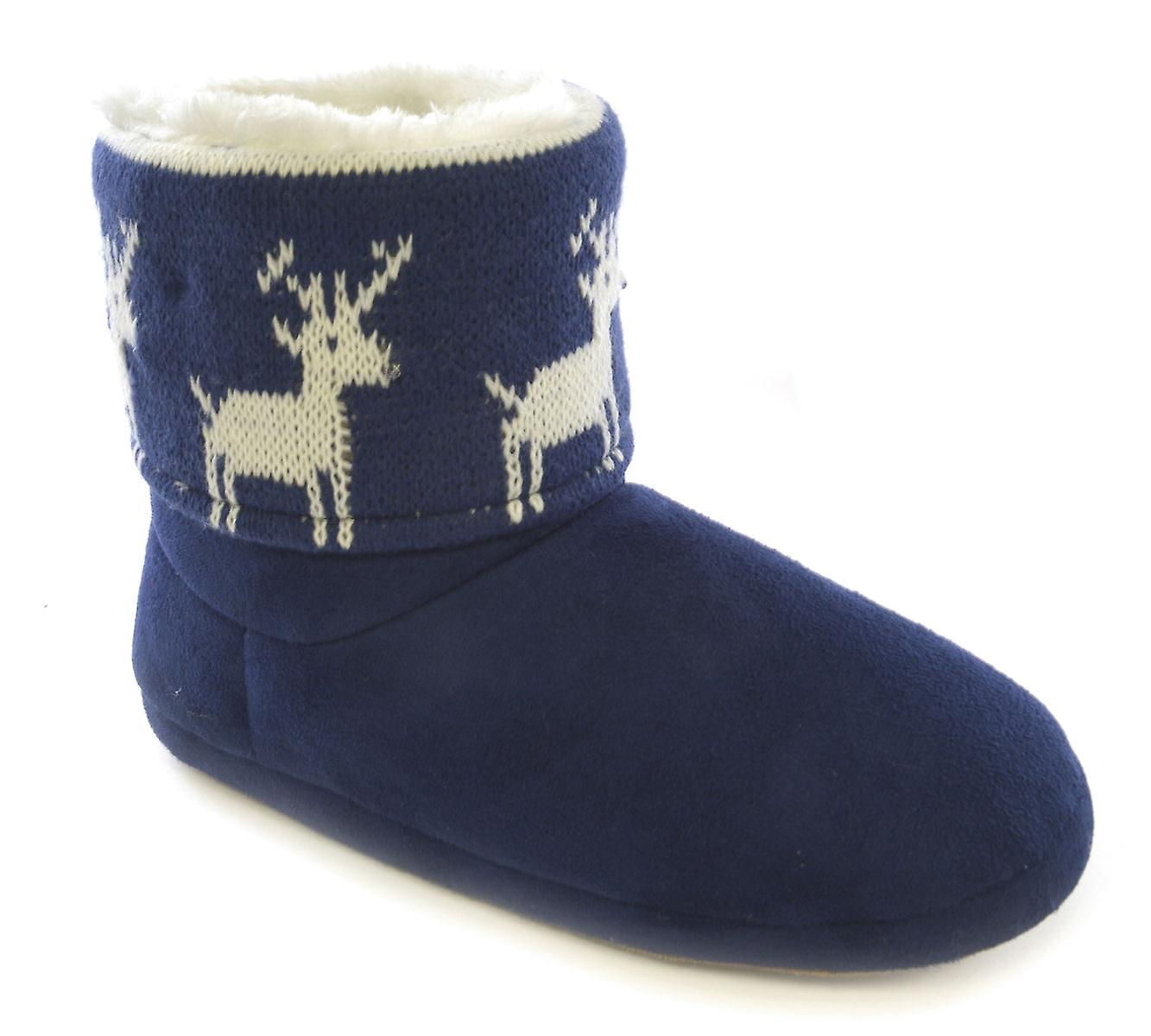 SlumberzzZ Womens LED Light-Up Christmas Boot Slippers