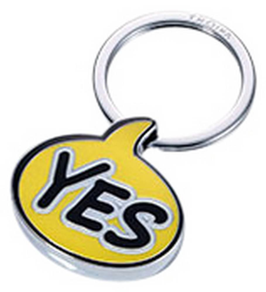 Troika Caution Comic YES Key Ring - Yellow/Black