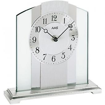Table clock of brushed metal base silver mineral glass aluminum chrome AMS