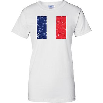 Frankreich gequält Grunge Effekt Flaggendesign - Damen-T-Shirt