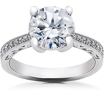 2 1/6 ct Lab Created Eco Friendly Diamond Vintage Engagement Ring 14k White Gold