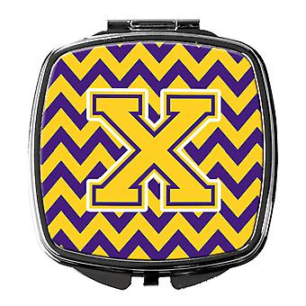 Carolines Treasures  CJ1041-XSCM Letter X Chevron Purple and Gold Compact Mirror