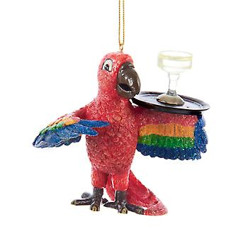 Kurt Adler Tropical Red Macaw Parrot Serving  Margarita Drink Holiday Ornament