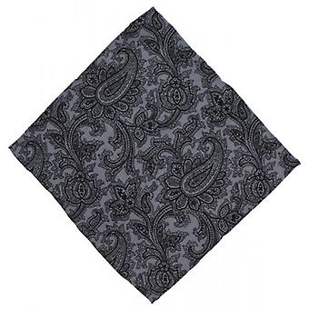 Michelsons of London Paisley Wool Pocket Square - Grey/Black