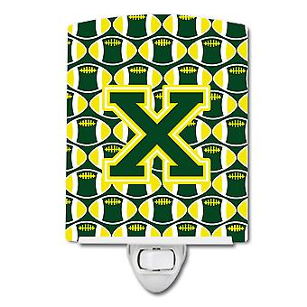 Letter X Football Green and Yellow Ceramic Night Light