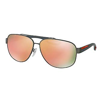 Prada SPS58Q Medium Rubber Gunmetal mirrored Brown Orange