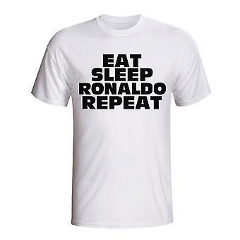 Jeść, spać Ronaldo Powtórz T-shirt (biały)