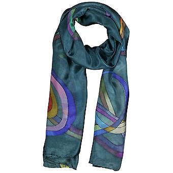 Invisible World Women's Hand-Painted 100% Silk Ribbons Scarf