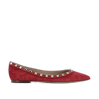 Valentino women's NW0S0403WVW0R0 red suede of ballerinas