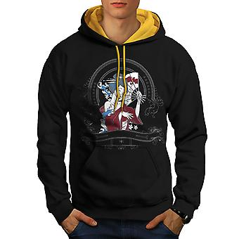 Girl Japan Woman Men Black (Gold Hood)Contrast Hoodie | Wellcoda