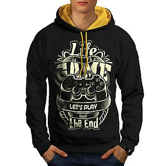 Life Is The Game Geek Men Black (Gold Hood) Contrast Hoodie | Wellcoda