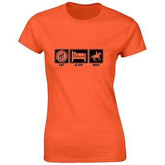 Eat Sleep Ride Funny Riding Equestrian Womens T-Shirt 8 Colours by swagwear