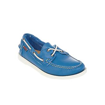 Sebago men's B720050BRIGHTBLUE light blue leather moccasins