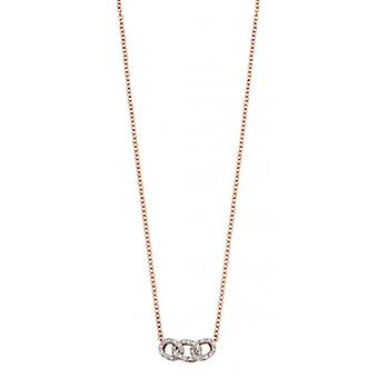 Elements Gold Diamond Link Necklace - Rose Gold/Clear