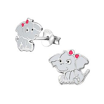 Elephant - 925 Sterling Silver Colourful Ear Studs