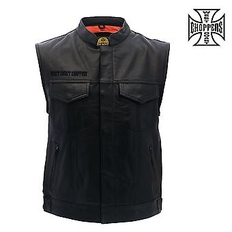 West Coast choppers gilet OG Croce Gilet equitazione in pelle