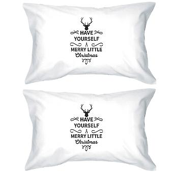 Merry Little Christmas White Holiday Decorative Pillowcases Gifts