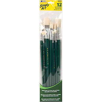 Simply Art Bristle Brush Set 12/Pkg-