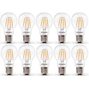 10 X Energizer LED Filament GLS Light Bulb Lamp Vintage ES E27 Clear 4.5W = 40W ES E27 Cap[Energy Class A+]