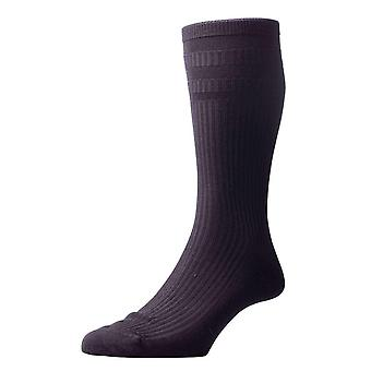 Pantherella Ickburgh Graduated Rib Cotton Lisle Socks - Black