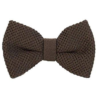 40 Colori Solid Pre-Tied Silk Bow Tie - Dark Brown