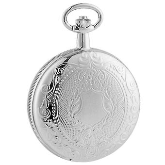 Woodford Chrome Patterned Mechanical Pocket Watch - Silver