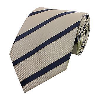 Neck tie necktie ties Binder wide 8cm beige/blue striped Fabio Farini