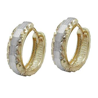 Diamond gold earrings hoop gold Creole, bicolor, 9 KT GOLD 375