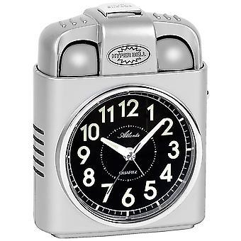 Atlanta 1947/19 alarm clock quartz silver with light snooze Bell signal