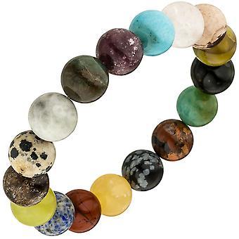 Bracelet with gemstones of multocolor 19 cm precious stone bracelet elastic