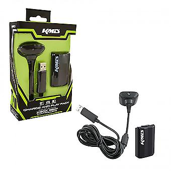KMD - Charge and Play Pack Charger for Xbox 360 - Black