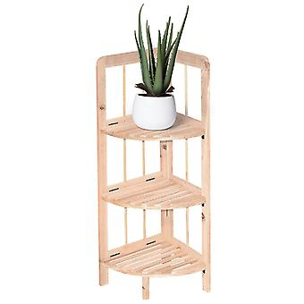 Knight Knox 3 Tier Wooden Corner Shelf Natural Colour Easy to Store