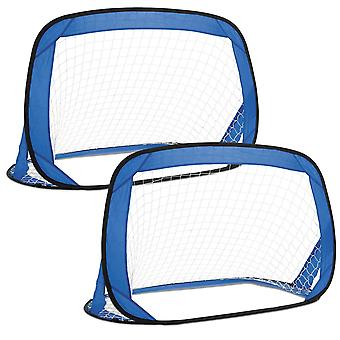 Toyrific Kids Pop-Up Football Goals in Carry Bag With Handle Set Of 2 Blue