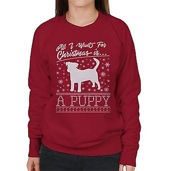 All I Want For Christmas Is A Puppy Knit Pattern Women's Sweatshirt