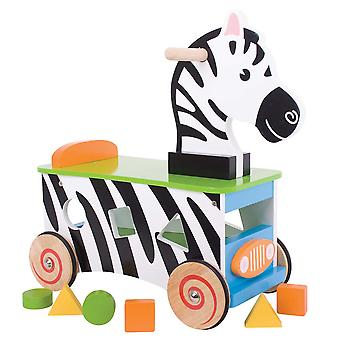 Bigjigs Toys Wooden Zebra Ride On and Shape Sorter Toy Sit Shapes Educational