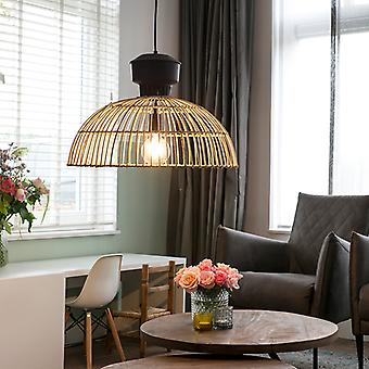 QAZQA Country Round Pendant Lamp 55cm Rattan with Rust Details - Magna Rattan