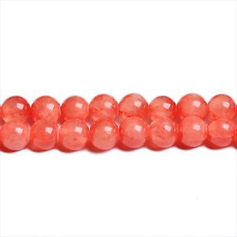 Strand 45+ Orange/Red Mashan Jade 8mm Plain Round Beads CB31425-3