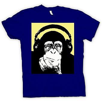 Kids t-skjorte-sjimpanse Ape DJ med hodetelefonen