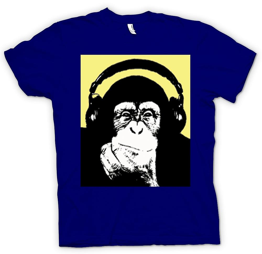 Mens T-shirt - Chimpanzee Ape DJ With Headset