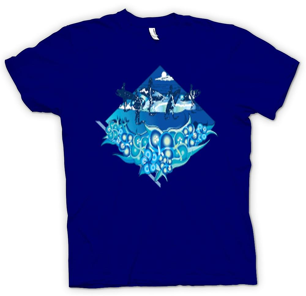 Mens t-shirt-Surfer Design con onde & delfini