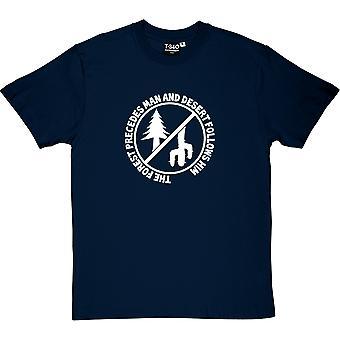Homem precede a floresta, deserto, segue-o t-shirt dos homens