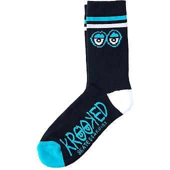 Krooked Black-White-Blue Big Eyes Socks
